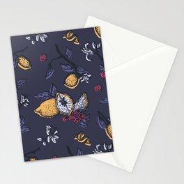 Lemon&raspberry in trendy ultraviolet color Stationery Cards
