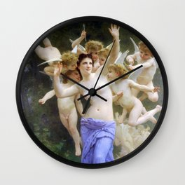 The Invasion (The Wasp's Nest) Le Guêpier by William-Adolphe Bouguereau Wall Clock