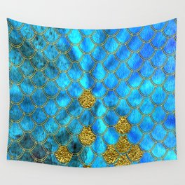 Blue Aqua Turquoise And Gold Glitter Mermaid Scales -Beautiful Mermaidscales Pattern Wall Tapestry