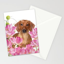 Dog in Field of Lotos Flower Stationery Cards
