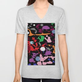 Black Multi Color Paint Splash Unisex V-Neck