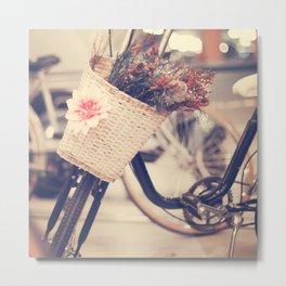 Vintage Bike and Baskwt with flowers Metal Print