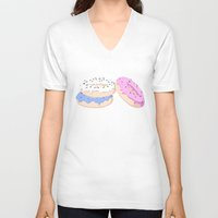 donut V-neck T-shirts featuring Donut by MlleLowra