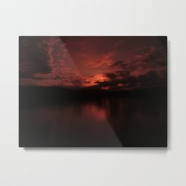Dark Red Sunset in Montana, Water Reflection, Hues of Red, Sailor's Delight Metal Print