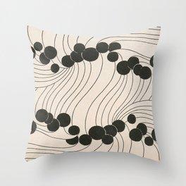 Art Nouveau Black Dots Throw Pillow
