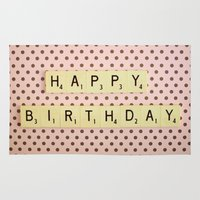 happy birthday Area & Throw Rugs featuring Happy Birthday by happeemonkee
