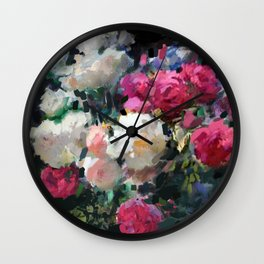 White & Pink Roses Wall Clock