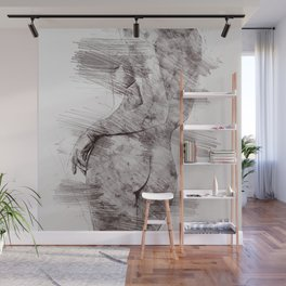 Nude woman pencil drawing Wall Mural
