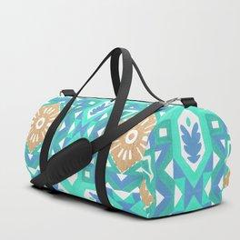 Abstract aqua blue watercolor faux gold glitter motif Duffle Bag