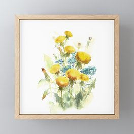 Watercolor flowers of blowball and forget-me-not Framed Mini Art Print