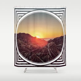 Peel Sunset  - line/circle graphic Shower Curtain