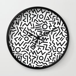 Black and White Memphis Design Wall Clock