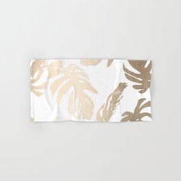 Simply Tropical Palm Leaves in White Gold Sands Hand & Bath Towel