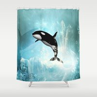 orca Shower Curtains featuring The orca by nicky2342