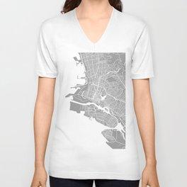 Oakland CA map grey Unisex V-Neck