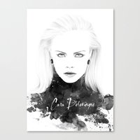 cara delevingne Canvas Prints featuring Cara Delevingne by Esther