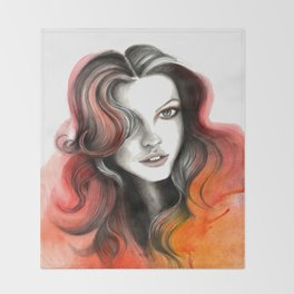 Red and Orange Flame Hair Throw Blanket
