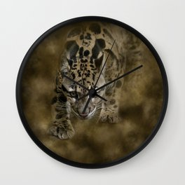 Clouded Leopard On The Hunt Wall Clock
