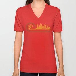 Retro Style Houston Texas Skyline Unisex V-Neck