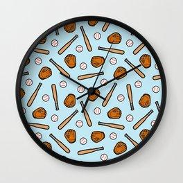 Baseball Pattern in Light Blue Wall Clock