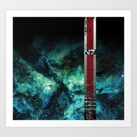 n7 Art Prints featuring N7 Battle Damaged Armor by ThePyratQueen