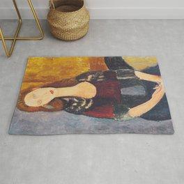 Jeanne Hebuterne woman portrait by Amedeo Modigliani Rug