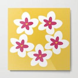 Pink Plumeria Lei (Yellow) Metal Print