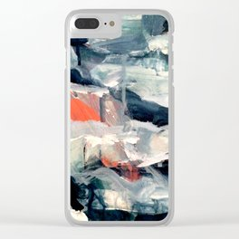 Eye of the Storm [2] - abstract mixed media piece in blues, white, and red Clear iPhone Case