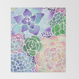 Masked Flora Collection Succulents Throw Blanket