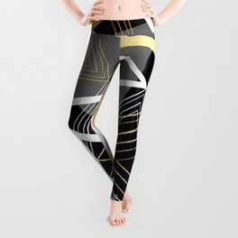Original Gray and Gold Abstract Geometric Leggings