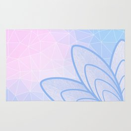 Flower on Pastel Pink and Blue Geometric Pattern Rug
