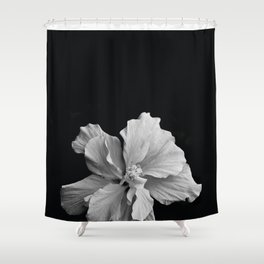 Hibiscus Drama Study - Black & White High Impact Photography Shower Curtain