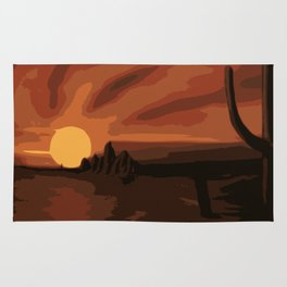 Old Wild West Cactus at Sunset Rug