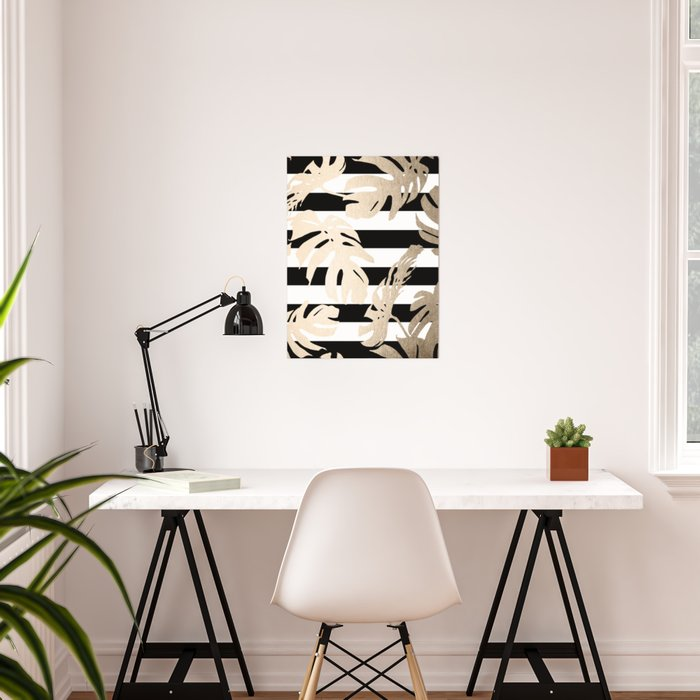 Simply Tropical Palm Leaves on Stripes Poster