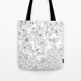 Hummingbirds and Flowers Coloring Page Tote Bag