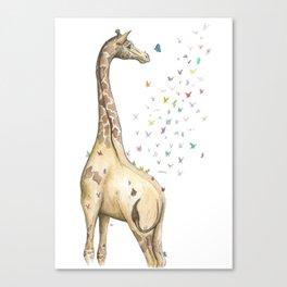 Young Giraffe with Butterflies Canvas Print