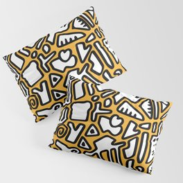 black doodle on orange Pillow Sham