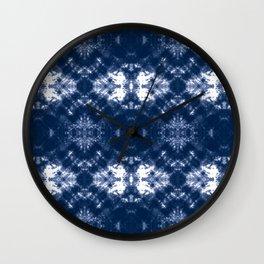 Shibori Tie Dye 1 Indigo Blue Wall Clock