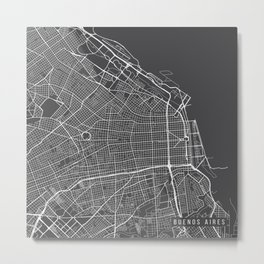 Buenos Aires Map, Argentina - Gray Metal Print
