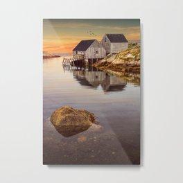 Peggy's Cove Harbor at Sunset in Nova Scotia Metal Print