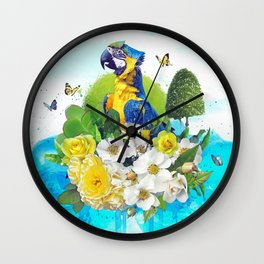 FLORAL PARROT Wall Clock