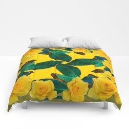 GREEN LEAF ART & YELLOW ROSE FLOWERS  DESIGN Comforters