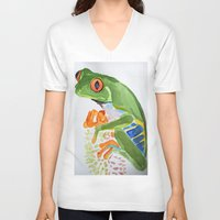 frog V-neck T-shirts featuring Frog by The Traveling Catburys