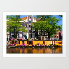 Houseboat in the summer sun Art Print
