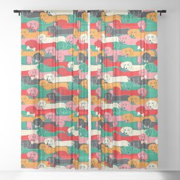dachshund pattern- happy dogs Sheer Curtain