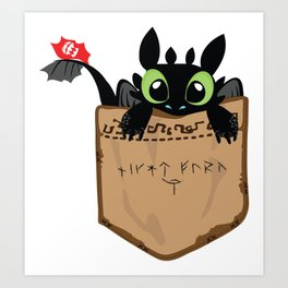 Toothless a viking dragon Art Print