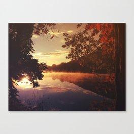 Early morningsun- Forest Sun Lake Trees Canvas Print