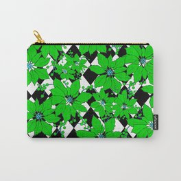 POINSETTIAS AND HARLEQUINS GREEN AND BLACK Carry-All Pouch