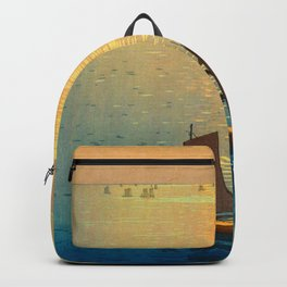 Hiroshi Yoshida Vintage Japanese Woodblock Art Ocean Sunset Sailboat Orange Blue Color Hues Backpack