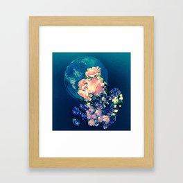Garden Circle - Navy Framed Art Print